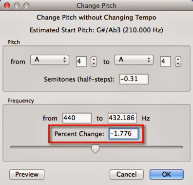 how to raise pitch in audacity