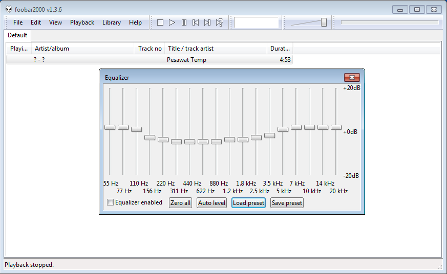 Cara menggunakan Equalizers Foobar2000 4