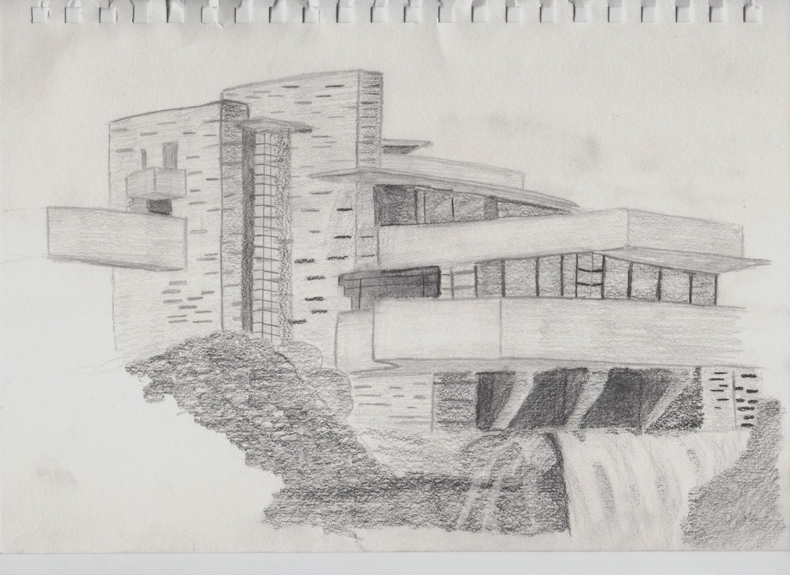 Fallingwater Is Designed By My Favourite Architect Frank Lloyd Wright I Chose To Sketch This Building In Order Challenge Myself As There Were Many