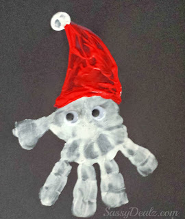 santa handprint christmas craft for kids