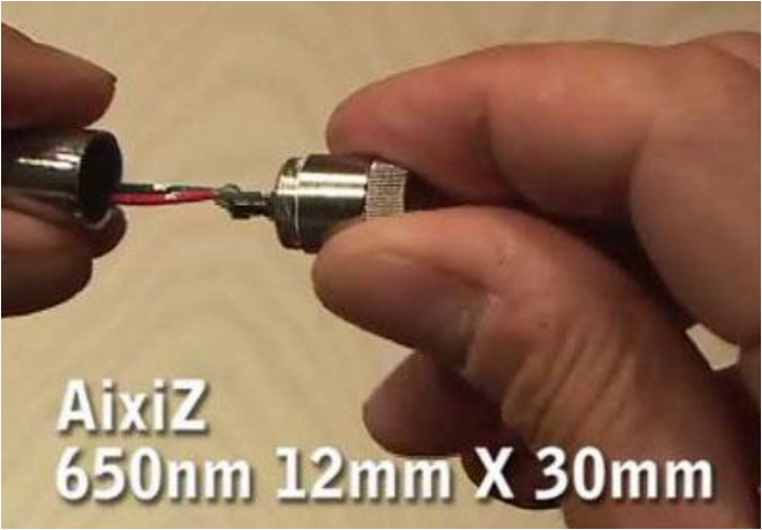 Приготовление лазерной указки AixiZ Снимите с указки лейбл, развинтите её.  В передней части находится лазерный диод...
