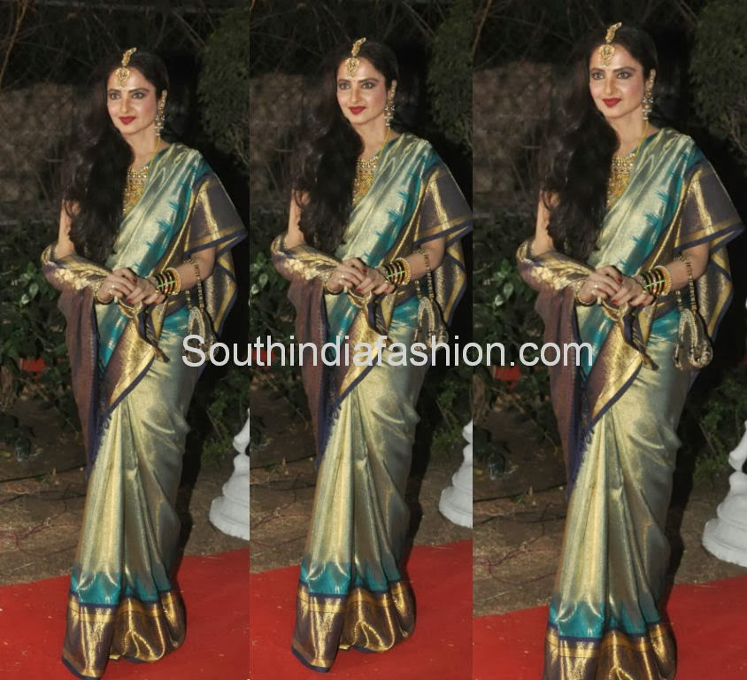 rekha in bridal saree at ahana deol wedding reception