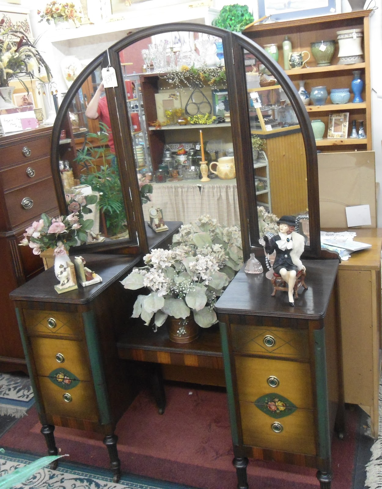 Antique Vanity with Tri-fold Mirror Factory Painted Floral Accents - Phoebes Hidden Treasures ~ Antiques And Collectibles Blog: Antique