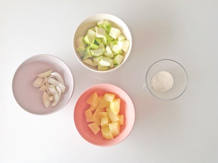 ingredientes-papilla-de-calabacin-y-semola-de-arroz-hansel y greta