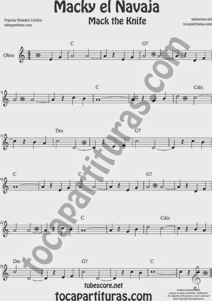 Macky el Navaja Partitura de Oboe Sheet Music for Oboe Music Score Mack the Knife