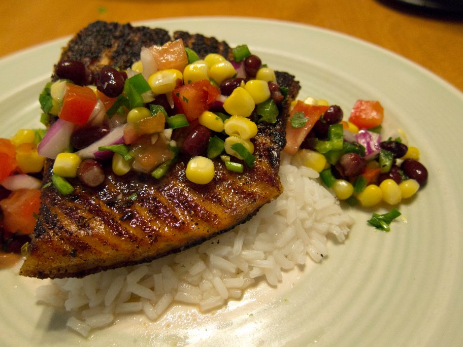 Smoky Spice Rubbed Grilled Salmon With Black Beans And Corn Recipe ...