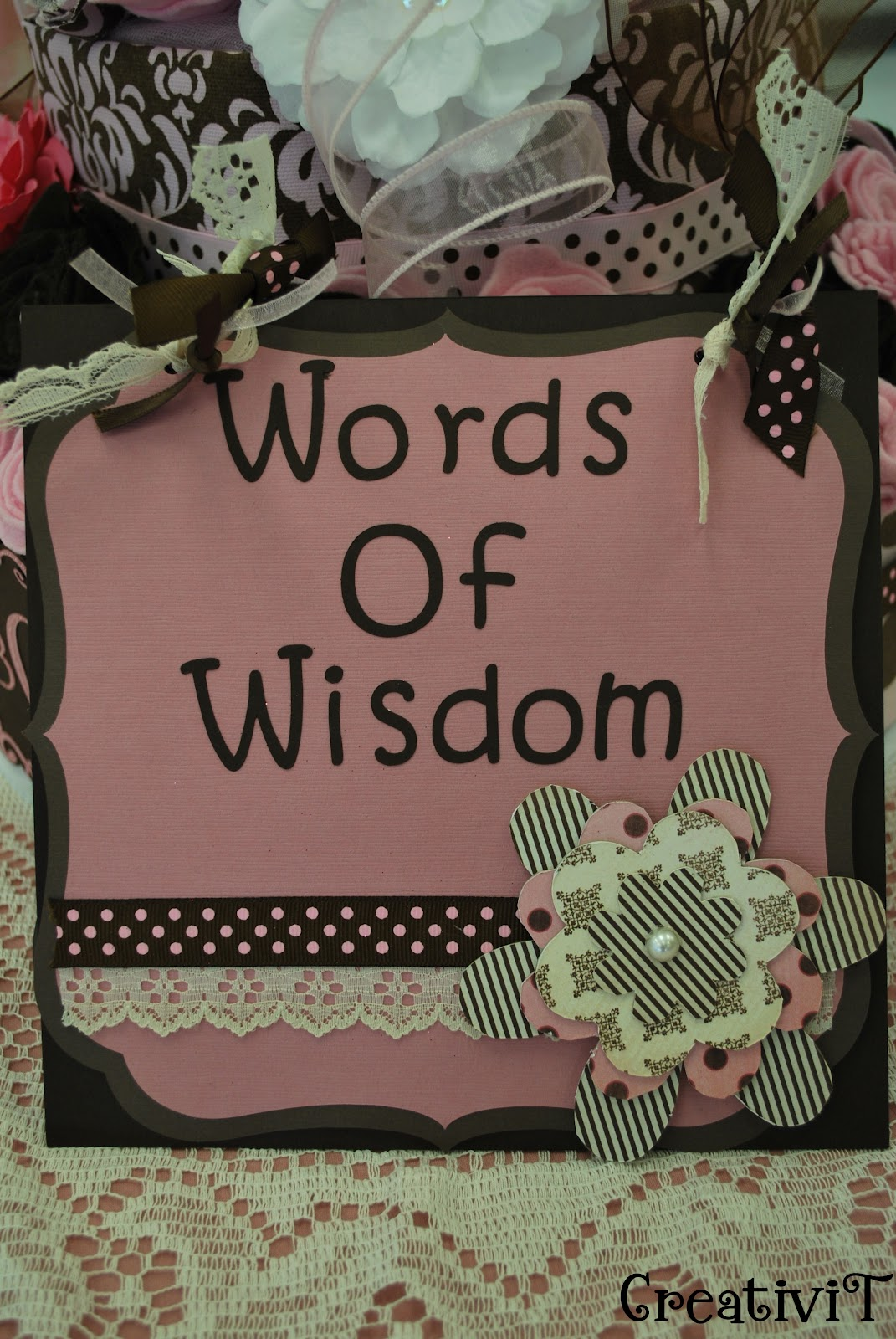made words of wisdom cards for everyone to share their wisdom for