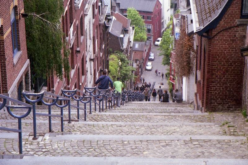 The Stairway of the Mountain Bueren or Montagne de Bueren Stairs called Mount de Buren is located about 1 km north-east of the Cathedral of Liege, Belgium. The mountain Bueren is a staircase of 374 steps.