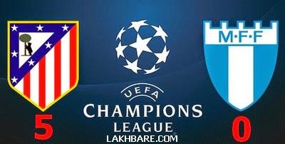 Atletico Madrid 5 VS 0 Malmö FF أهداف مباراة اتلتيكو مدريد و مالمو من دوري ابطال اوروبا