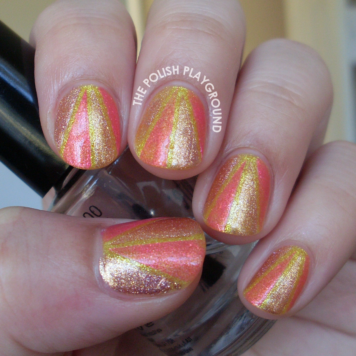 Shimmery Color Block Nail Art