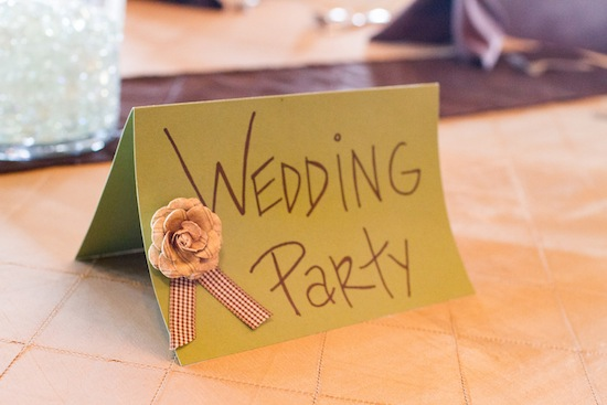 wedding party sign at reception