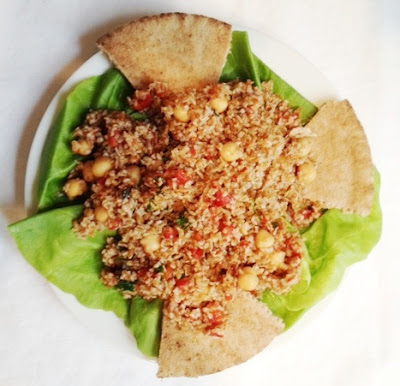 Bulgur Salad With Chickpeas, Roasted Red Peppers And Spiced Cumin Dressing