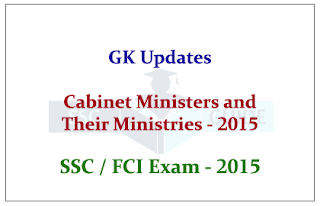 List of Cabinet Ministers and Their Ministries 2015
