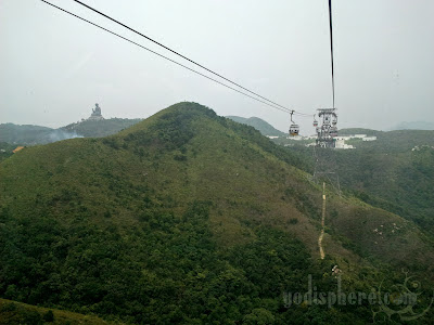 Cable cars passing the giant Buddha sitting on mountain peak