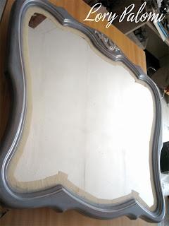espejo madera recuperado en azul y blanco