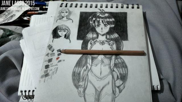 Dibujo a lápiz basado en los trabajos de satoshi urushihara