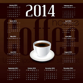 beautiful calendar 2014 with white cup of Coffee or Tea : magnificent wallpaper
