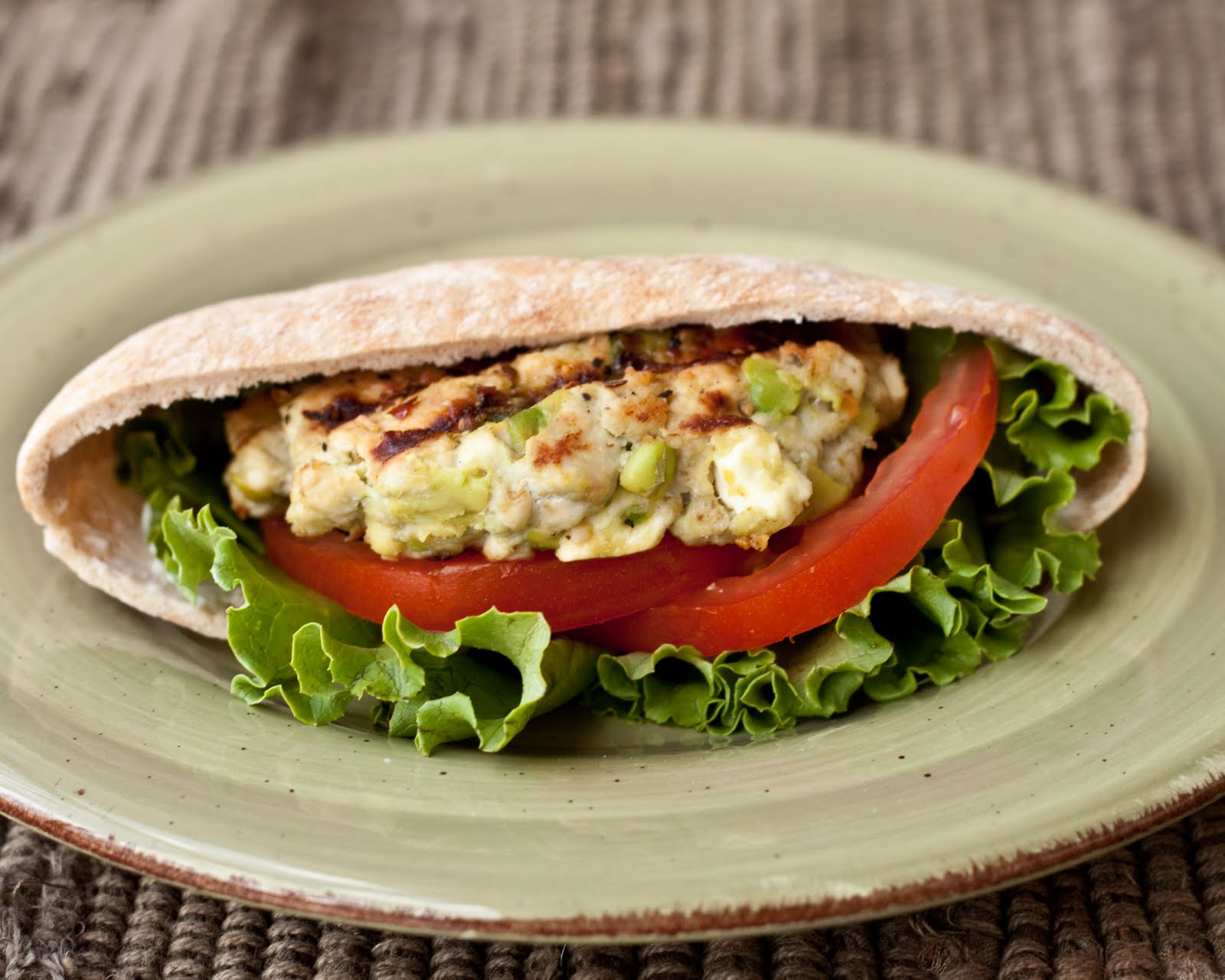 Feta-Avocado Turkey Burger Pitas