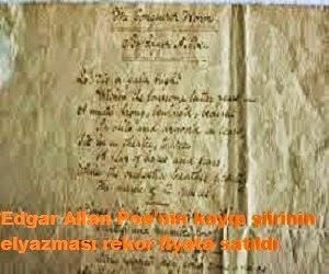 Edgar Allan Poe'nin kayıp şiirinin elyazması rekor fiyata satıldı