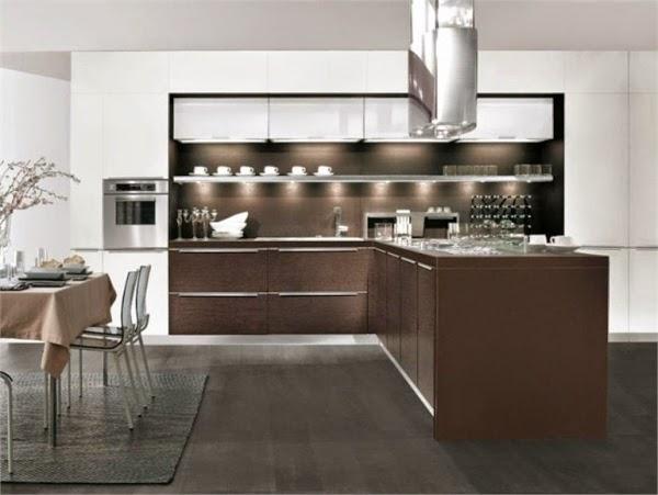 Cocinas integrales modernas color chocolate colores en casa for Cocina integral l