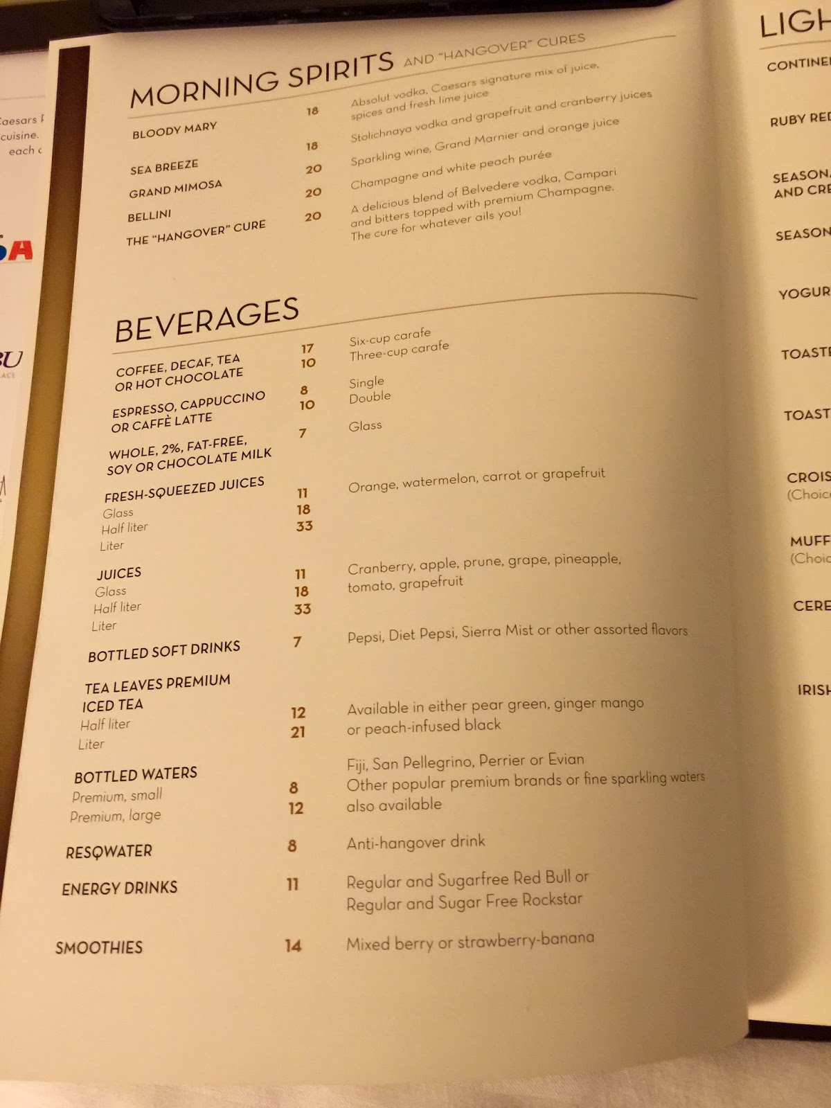 Luxor in room dining menu
