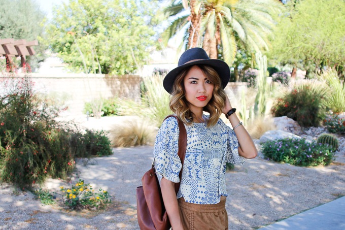 House of Harlow Eva Print Blouse, Minnetonka Bali sandals, Janessa Leone Lucy hat, Nordstrom Rack, beautybitten