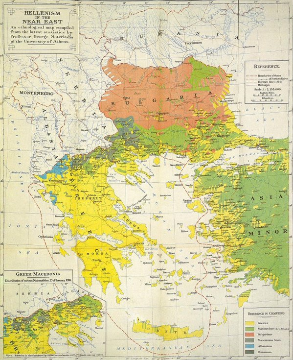 Ethnic Map in Greece, Bulgaria and Western Turkey  (1906)