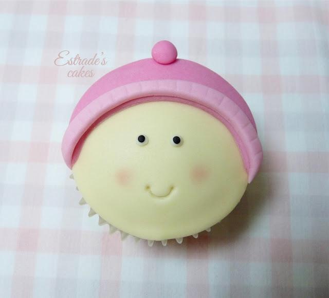 cupcakes con fondant para nacimiento de niña - 3