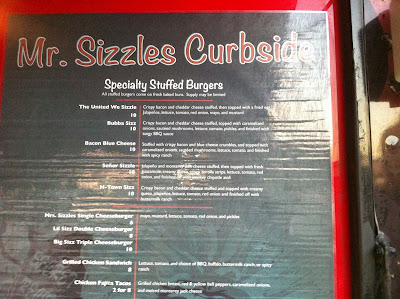 Mr. Sizzles Curbside menu