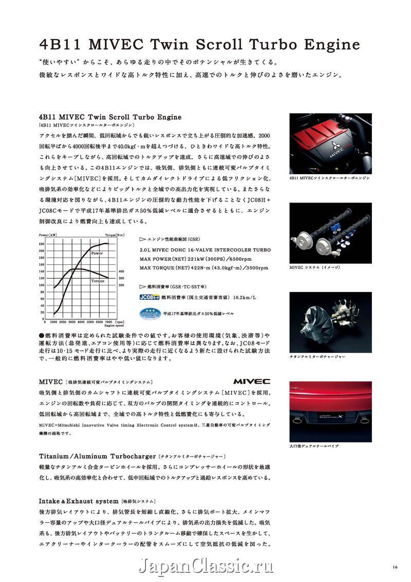Mitsubishi 4B11T, silnik, turbodoładowany, MIVEC, sportowy, Lancer Evo