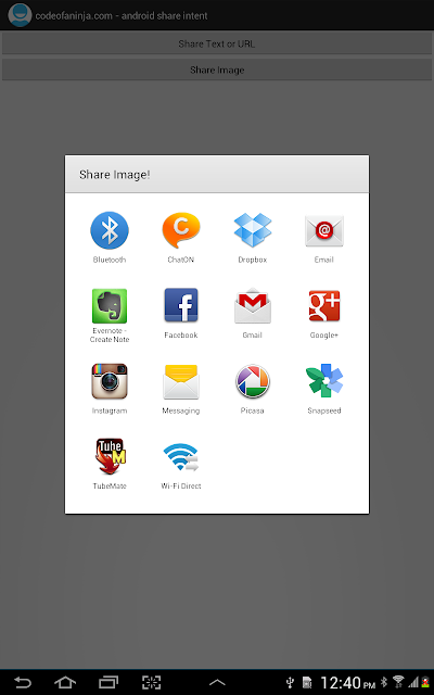 Android Share Intent - share image button was touched