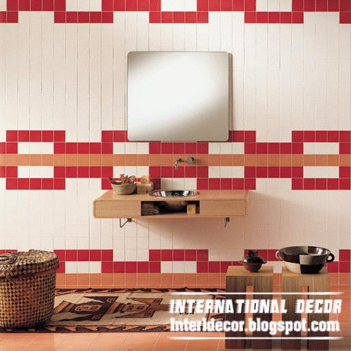 modern red and white bathroom tiles designs ideas for bathroom wall. Home design International  Modern red wall tiles designs ideas for