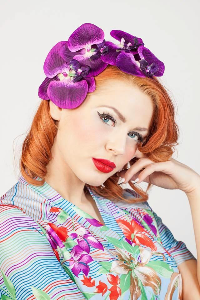 purple, rockabilly, flower, fascinator, pinup, vintage,