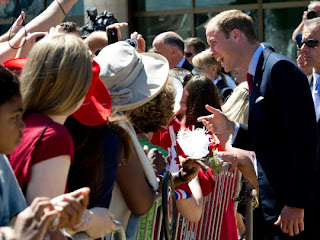 Prince William speaks to the crowd following a citizenship ceremony Friday, July 1, 2011, in Gatineau, Canada