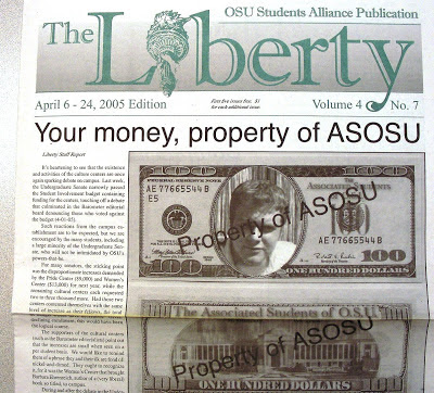 front page of anti-gay Oregon State University conservative student newspaper 'The Liberty' April 6-25, 2005