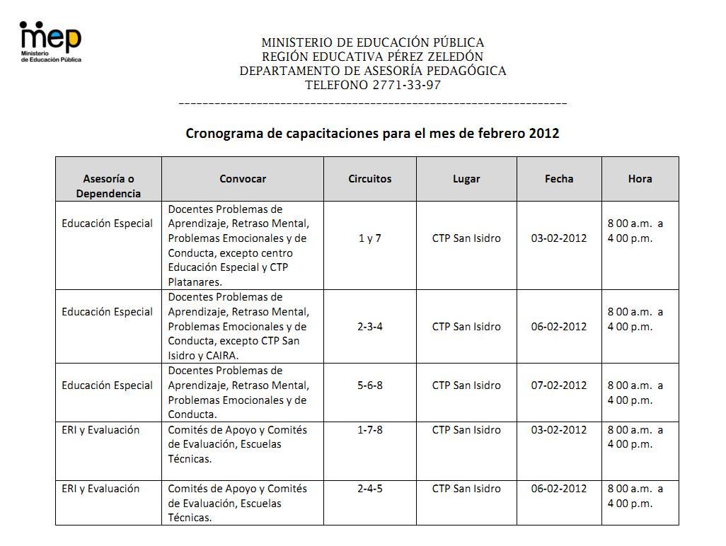 Convocatoria de capacitaci n a docentes febrero 2012 for Convocatoria para docentes