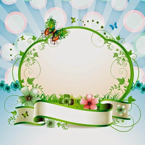 ... para ustedes este bonito Marco Floral con mariposas (Template Psd