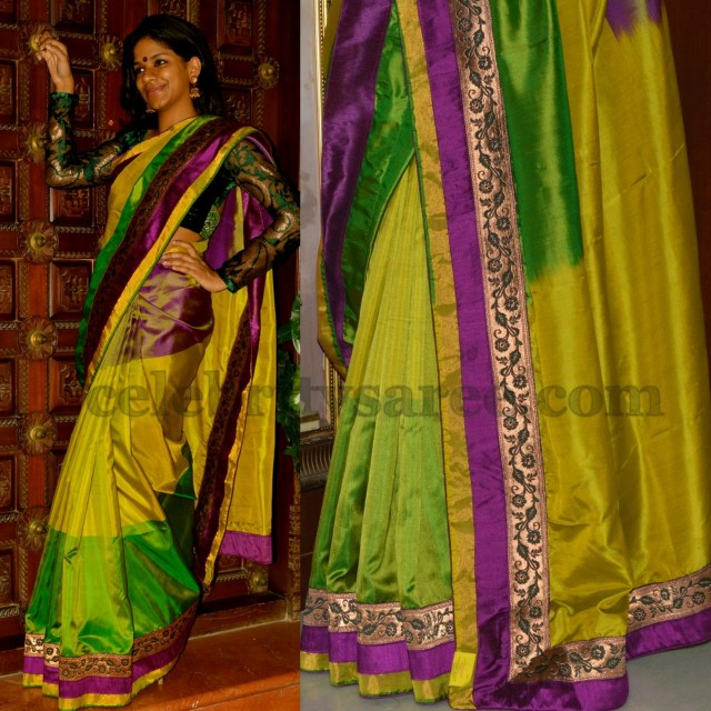 Dazzling Tri Color Uppada Saree