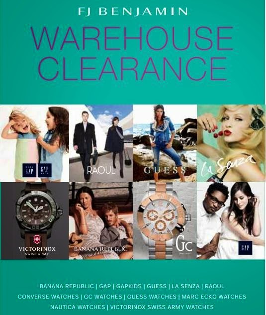 FJ Benjamin Warehouse Clearance Sale, FJ Benjamin, Warehouse Clearance, Sales, Banana Republic, GAP, GAPkids, La Senza, Raoul, Converse Watches, GC Watches, Guess Watches, Marc Ecko Watches, Nautica Watches, Victorinox Swiss Army Watches