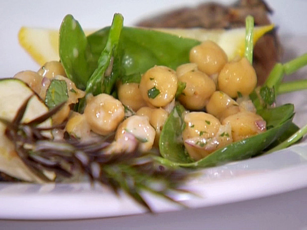 Chickpea and Spinach Salad with Cumin Dressing and Yogurt Sauce Recipe