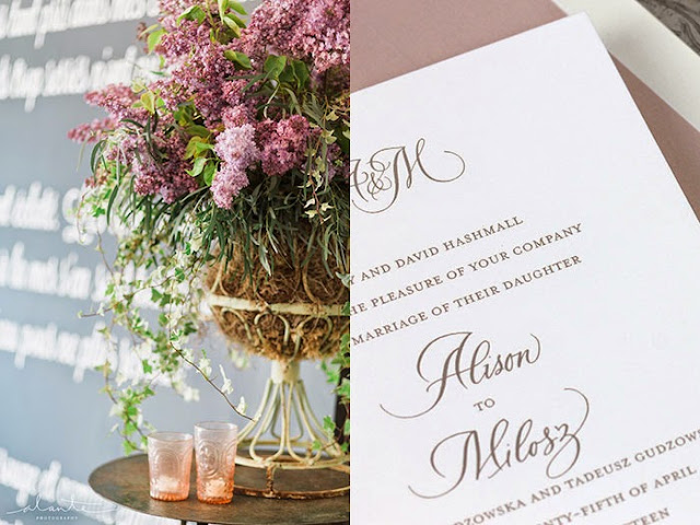 Lilacs + Invitaiton close up
