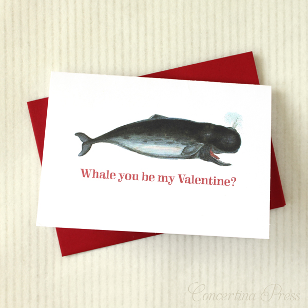 Whale you be my valentine - cute funny Valentine's Day card from Concertina Press