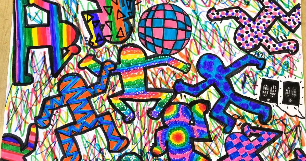 Paintbrush Rocket: 4th Grade Keith Haring Crazy Art Folders!