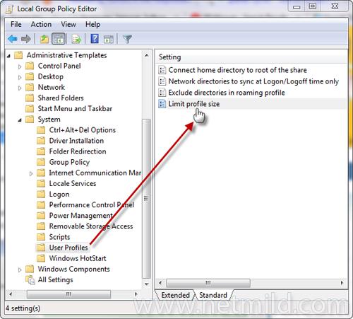 gpedit.msc userprofile Cara batasi Disk Space Usage dengan pengguna di Windows 7