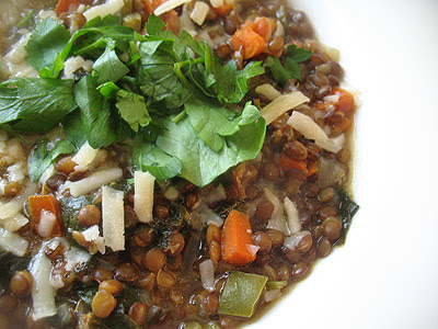 Puy Lentil Soup with Spinach