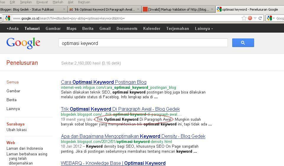 Trik optimasi keyword di paragraf awal blog gedek for Input keyword disini perbaris ya