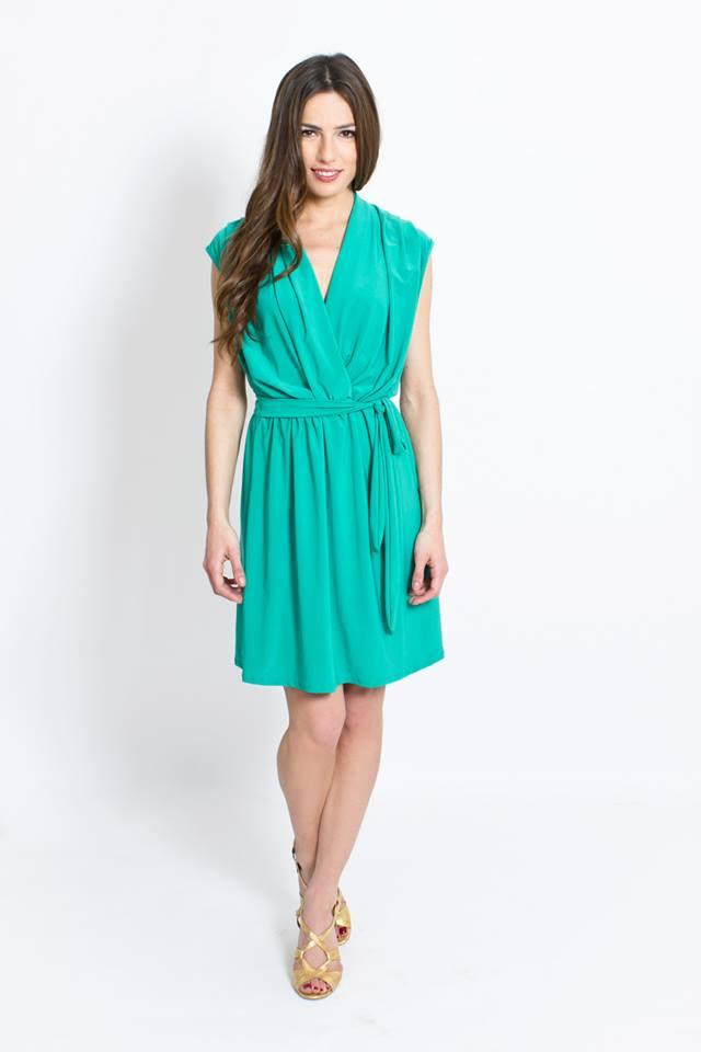 Vestido verde cruzado