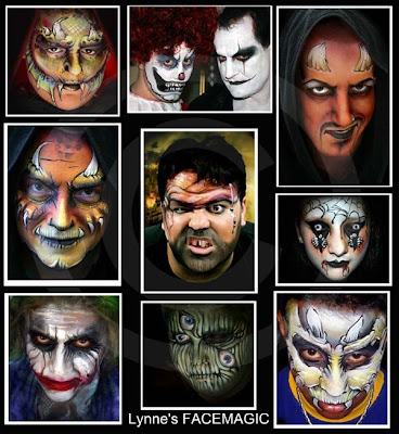 Halloween face painting favourites the devil, The Joker, sad clown, pirate, horny monster, 3 eyed face and scary teeth skull
