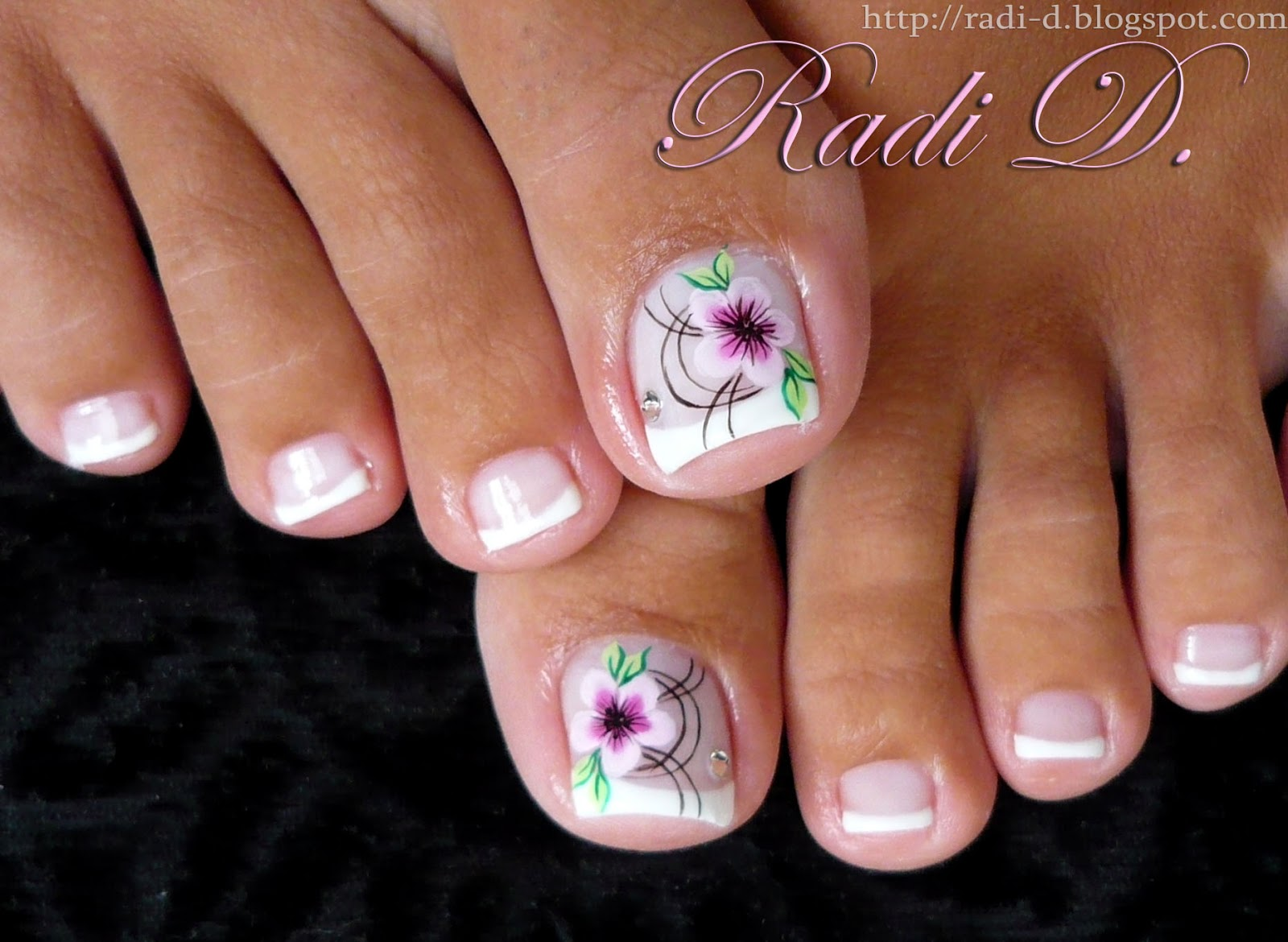 French Toes With One Stroke Flower