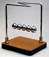 newtonun beşiği, sallanan çelik bilyeler, demir toplardan oluşan sarkaç